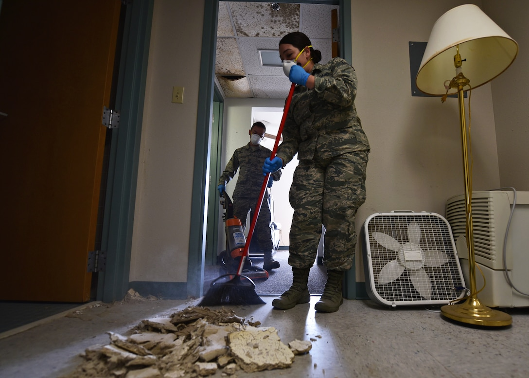 Airman 1st Class Jade Caballero, Task Force Talon II member, sweeps debris inside a dormitory at Tyndall Air Force Base, Fla., Nov. 28, 2018. Task Force Talon II is responsible for clearing and cleaning various parts of hurricane ravaged Tyndall to include the dormitories. Select dormitories will be used to house permanent party Airmen who return to Tyndall. (U.S. Air Force photo by Senior Airman Isaiah J. Soliz)