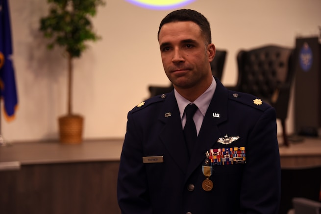Maj. Justin Warner was awarded the Airman's Medal Nov. 27, 2018, at Sheppard Air Force Base, Texas, for acts of heroism. Warner pulled two people from a burning vehicle  in January 2018 after witnessing the SUV lose control and flip multiple times, saving their lives. The Airman's Medal is the Air Force's highest non-combat award and is given for acts of heroism, usually at the voluntary risk of their own life. (U.S. Air Force photo by Senior Airman Robert L. McIlrath)