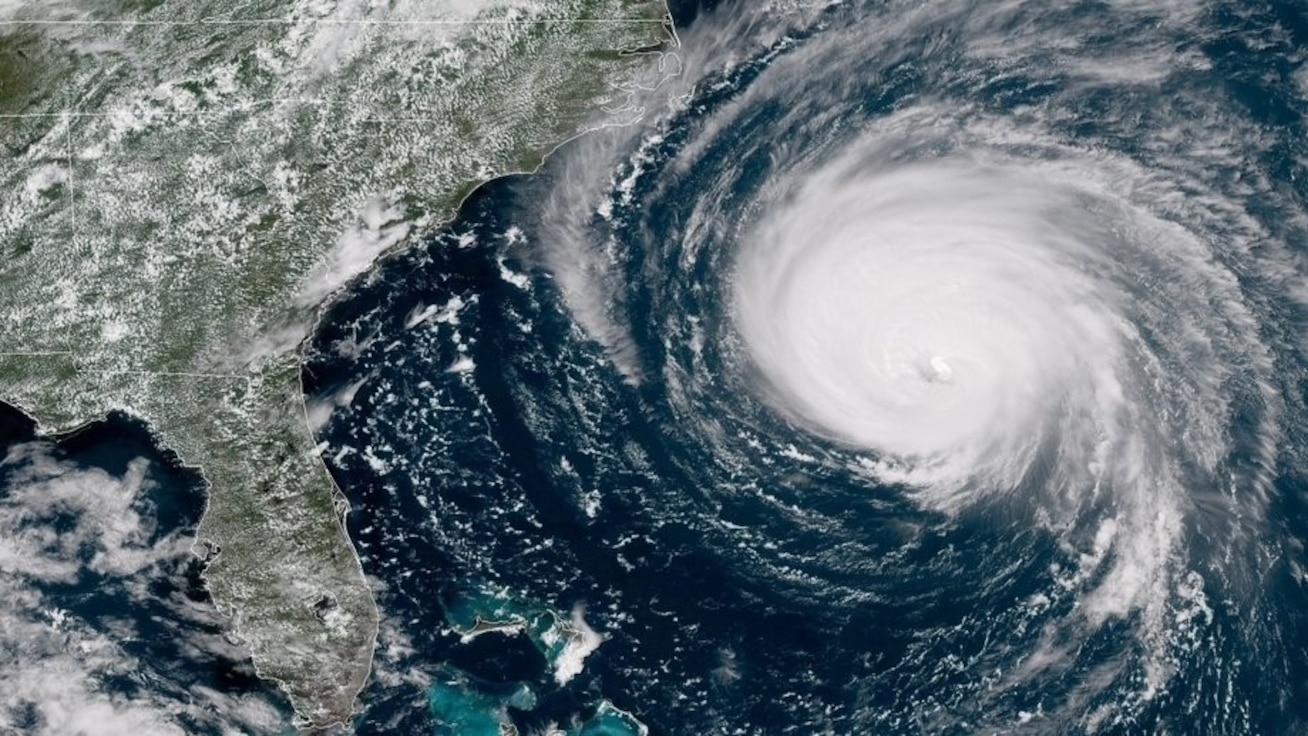 Hurricane Florence brought tropical storm conditions to North Carolina and South Carolina on Sept. 14, 2018.  This satellite image was captured by a National Oceanic and Atmospheric Association satellite on Sept. 12, 2018.