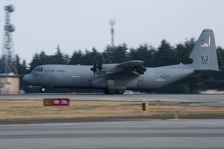 A C-130J Super Hercules aircraft with the 36th Airlift Squadron lands on the flight line during the 374th Airlift Wing Samurai Surge at Yokota Air Base, Japan, Nov. 29, 2018.