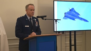 U.S. Air Force Maj. Gen. John Williams, Mobilization Assistant to the commander, U.S. Air Forces in Europe and Africa, talks about the Swedish pilots who are being awarded the U.S. Air Medal in Stockholm, Sweden, Nov. 28, 2018. Gen. Williams thanked the four Swedish Airmen who risked their lives to save an SR-71 and the aircrew in 1987. (U.S. Air Force Photo by Senior Airman Kelly O'Connor)