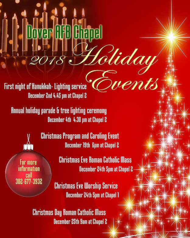 Dover Air Force Base Chapel list of Holiday Events.
