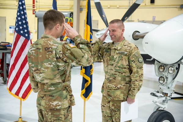 U.S. Army Chief Warrant Officer 5 Jeffrey Lohr, a C-12 master aviator and certified flight instructor assigned to Detachment 28 Operational Support Airlift Command, West Virginia Air National Guard in Williamstown, W.Va.,  during his promotion ceremony held Nov. 16, 2018, at the West Virginia National Guard Armory in Williamstown, W.Va.