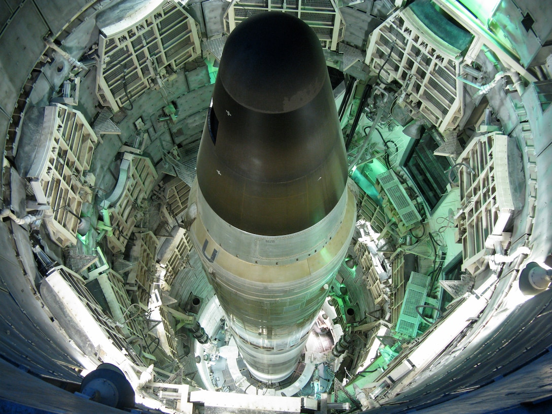 View of Titan II missile from above the silo.