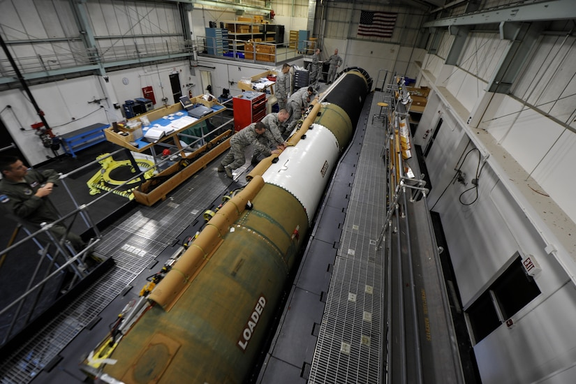 Crew works on Minuteman III missile.