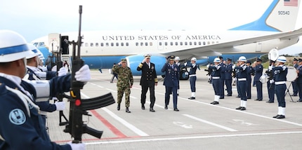 Navy Adm. Craig S. Faller, commander of U.S. Southern Command, arrives in Colombia for his first official trip.