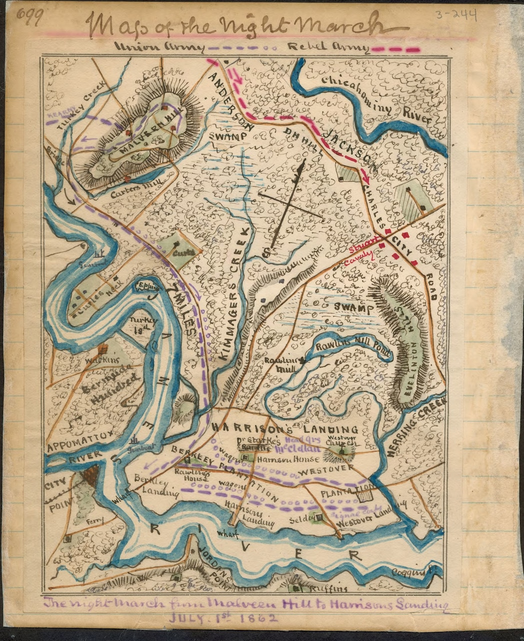 Map of the Richmond, Virginia, area during July 1862