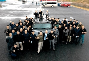 Tactical Law Enforcement officers (SWAT equivalent) from police departments Japan-wide are pictured during Advanced Law Enforcement Rapid Response Training (ALERRT) as part of a joint effort by OSI and the FBI. OSI Special Agent Paul Sorci, Detachment 622, Tokyo, Japan, is standing out of the driver's door. (Photo submitted by SA Paul Sorci)