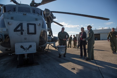 Kristen Johnson, military legislative assistant to Senator Tom Cotton of Arkansas, tours a CH53-E Super Stallion at Camp Lejeune, N.C., Nov. 26, 2018. Johnson traveled to Camp Lejeune to observe different elements of the Marine Air-Ground Task Force's expeditionary capabilities and to become familiar with the structure of the United States Marine Corps. (U.S. Marine Corps photo by Cpl. Taylor W. Cooper)