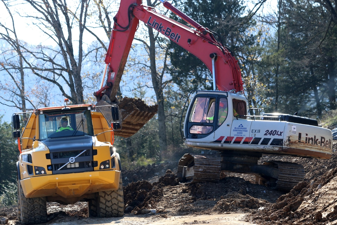 Contractors excavate soil Nov. 21, 2018 for a new shelter at the old Eisenhower Recreation Area, also known as Center Hill Park, next to Center Hill Dam in Lancaster, Tenn.  The reestablished recreation area is part of the site restoration process and plans to house three group shelters, new picnic sites, and a boat ramp accessing the lake.  (USACE photo by Ashley Webster)