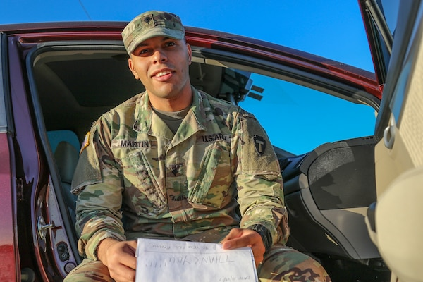 Nearly five years ago, Spc. Akeem Martin, of Houston, Texas, signed up with Be The Match, an international organization that matches recipients with donors of stem cell and bone marrow. Since answering the call and donating the life-saving cells, Martin has carried the thank you note from his recipient, LaShonda Goines, Houston. His donated stem cells enabled LaShonda to go from a double cancer diagnosis to being cancer free in seven months. Spc. Martin is a firefighter as his civilian profession and a chaplain's assistant for the Texas Army National Guard.