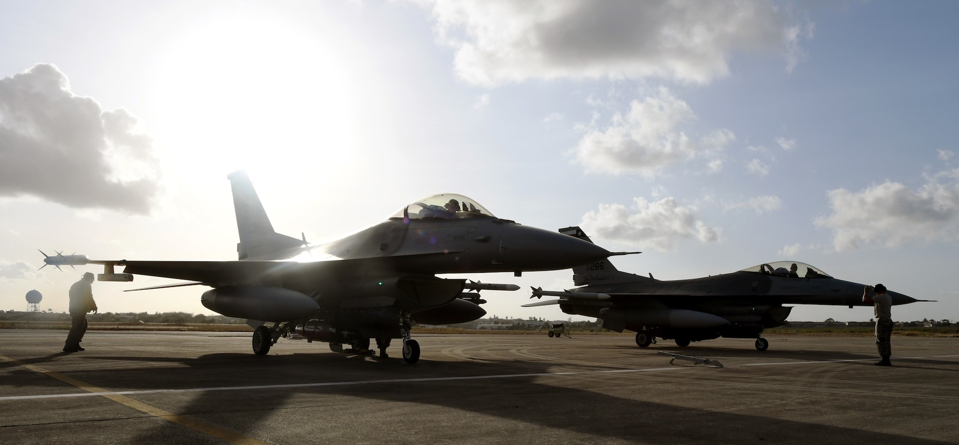 Two F-16 Fighting Falcons from the 149th Fighter Wing, Air National Guard, line the apron at Natal Air Force Base in Natal, Brazil, Nov. 16, 2018. Members of the 149th FW took part in CRUZEX 2018, a multi-national combat air exercise, held Nov. 18-30.