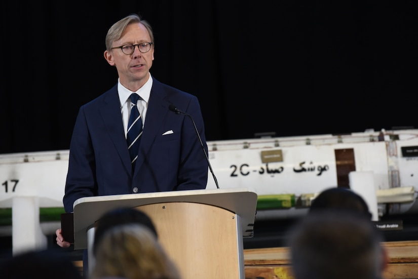 Brian Hook, special representative for Iran and senior policy advisor to the secretary of state, speaks about Iranian export of weapons and destabilizing influence in the region during a news conference at Joint-Base Anacostia-Bolling in Washington, D.C.