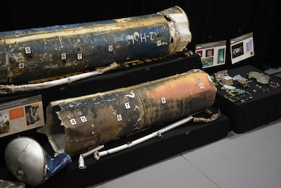 Remains of Iranian Qjam ballistic missiles and guidance components are part of a display at Joint Base Anacostia-Bolling in Washington, D.C.