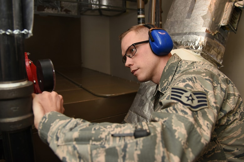 Staff Sgt. Anthony Eberhardt, 12th Missile Squadron facility manager, checks the pressure in the fire suppression system on November 19, 2018, at a missile alert facility at Malmstrom Air Force Base, Mont. The fire suppression system is one of the many critical parts intercontinental ballistic missile facility managers manage, operate and troubleshoot daily. (U.S. Air Force photo by Tech. Sgt Mark Bell)