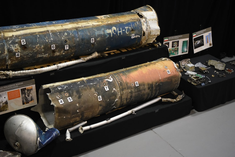 Pieces of missile displayed