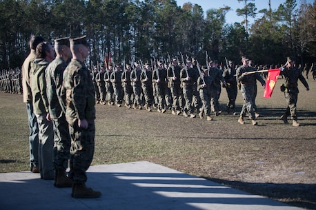 U.S. Marine Corps Col. Boyd A. Miller, commanding officer of Combat Logistics Regiment 27, 2nd Marine Logistics Group, and past commanding officers of Headquarters Regiment, 2nd MLG, stand at attention during a pass-in-review at CLR-27's re-designation ceremony at Camp Lejeune, North Carolina, Nov. 29, 2018. The unit's designation was changed from Headquarters Regiment to CLR-27 to focus on warfighting, deployability, and the integration of capabilities required to execute the Marine Corps mission. (U.S. Marine Corps photo by Sgt. Bethanie C. Sahms)