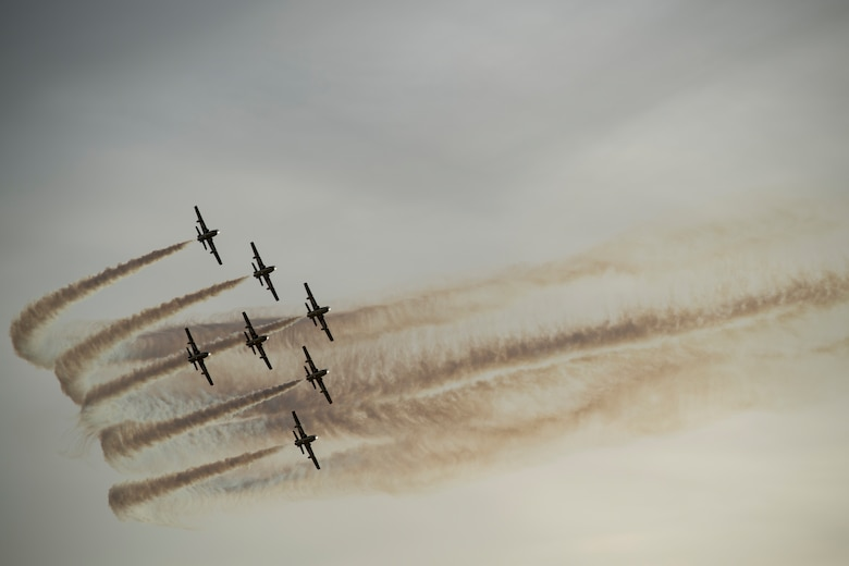 An aerial demonstration team flies over Sakhir Air Base, Bahrain
