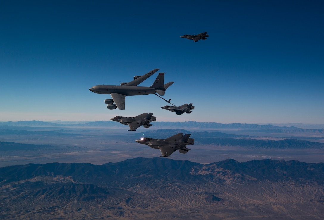 A formation of F-35A Lightning IIs