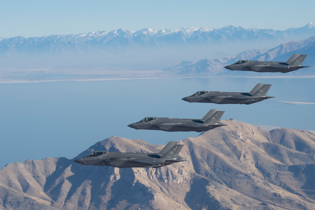 A formation of F-35 Lightning IIs