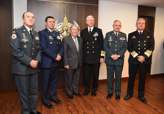 Navy. Adm. Craig S. Faller, commander of U.S. Southern Command, poses with Colombian Minister of Defense Guillermo Botero and Colombian military leadership.