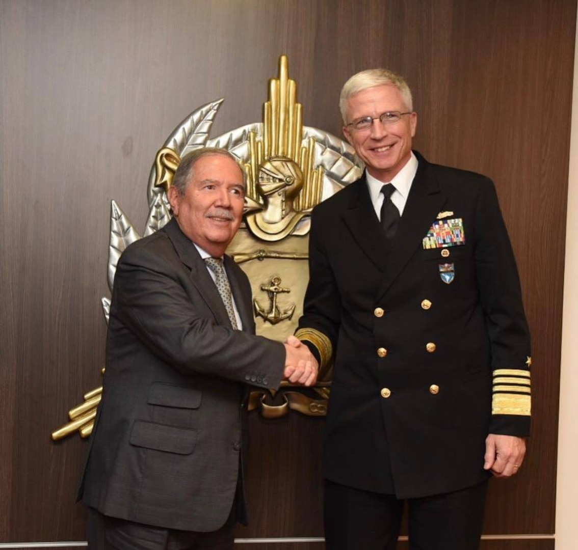 Navy. Adm. Craig S. Faller, commander of U.S. Southern Command, meets with Colombian Minister of Defense Guillermo Botero to discuss the continuation of the U.S.-Colombia security partnership.