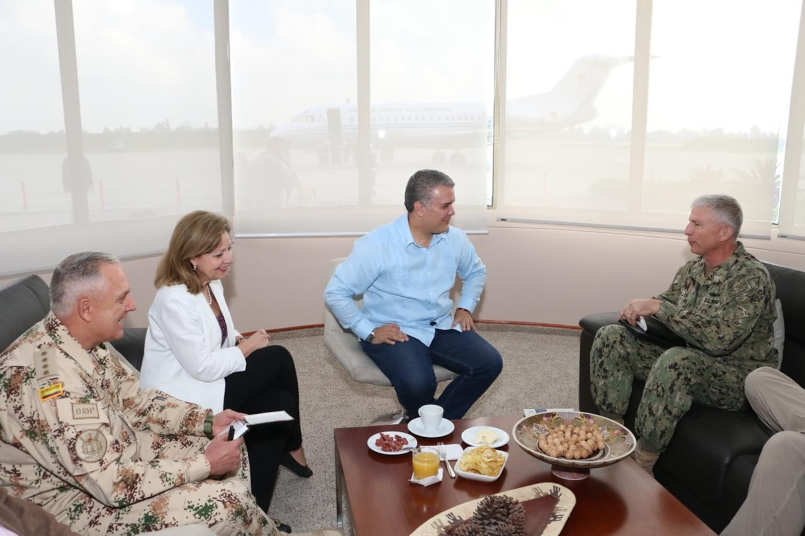 Colombian President Ivan Duque meets with Navy. Adm. Craig S. Faller, commander of U.S. Southern Command, along with U.S. Ambassador Kevin Whitaker and other officials, to discuss the continuation of U.S.-Colombia security cooperation.