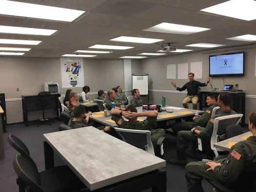 Andy Christiansen, motivational speaker, leads a small group discussion Sept. 12, 2018, in the Columbus Air Force Base, Spark Cell. The idea of the Spark Cell is to openly communicate ideas without judgment, so everyone's input is valuable. (Curtesy photo)