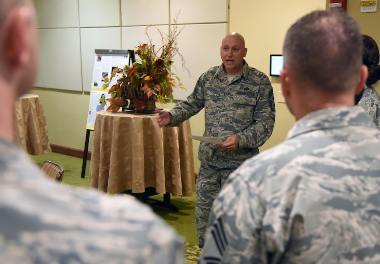 U.S. Air Force Chief Master Sgt. David Pizzuto, 81st Training Wing command chief, delivers remarks during the Native American Heritage Month food tasting at Keesler Air Force Base, Mississippi, Nov. 29, 2018. The event was held in celebration of Native American Heritage Month. (U.S. Air Force photo by Kemberly Groue)