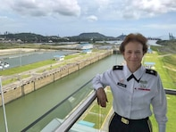 "Did you know an Army Engineer oversaw the construction of the Panama Canal between 1907-1915? Brig. Gen. Diana Holland poses during a recent visit to the Panama Canal. ""Amazing visit to the Panama Canal this week!"" she said. ""Incredible accomplishment in engineering and perseverance!"""