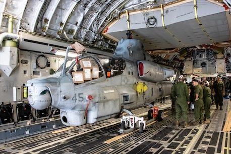 HMLA 469 Returns From Okinawa in Style - Or a C-17 as is its proper title