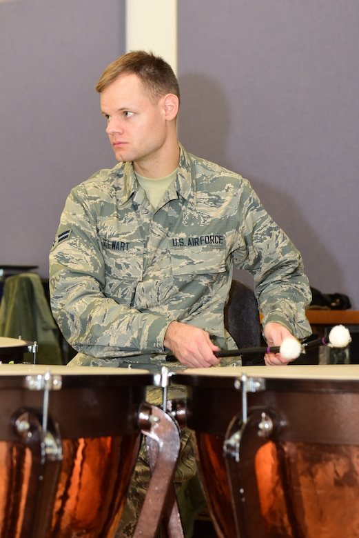 Airman 1st Class Alexander Stewart, a percussionist with the Air National Guard Band of the Northeast, rehearses Nov. 17, 2018, for the band's upcoming annual holiday concert. The concert is scheduled for Dec. 16 at the Auditorium of the Scottish Rite Cathedral, Harrisburg, Pennsylvania, at 3 p.m. and will feature the 35-piece wind-ensemble concert band performing several winter and holiday-themed songs. Admission is free and open to the public. (U.S. Air National Guard photo by Tech. Sgt. Claire Behney/Released)