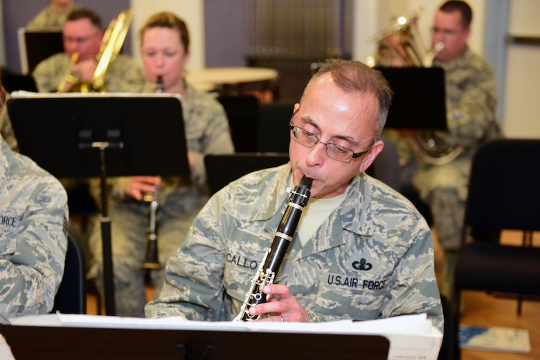 Master Sgt. Andrew Callo, a clarinet player with the Air National Guard Band of the Northeast, rehearses Nov. 17, 2018, for the band's upcoming annual holiday concert. The concert band will be performing several winter and holiday-themed songs on Dec. 16 at the Auditorium of the Scottish Rite Cathedral, Harrisburg, Pennsylvania, at 3 p.m. The concert is free to the public. (U.S. Air National Guard photo by Tech. Sgt. Claire Behney/Released)