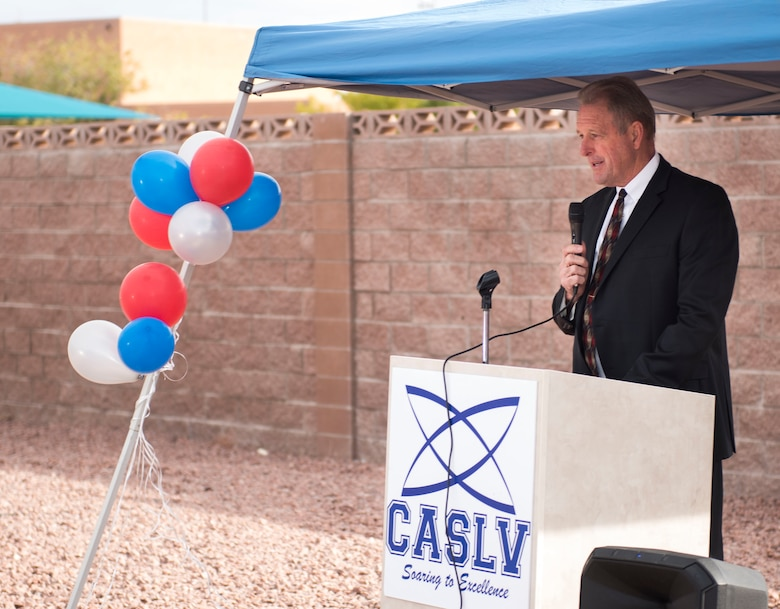 John Lee, mayor of North Las Vegas, shares his excitement about the Coral Academy of Science Las Vegas new campus during the Coral Academy groundbreaking ceremony on Nellis Air Force Base, Nev., Nov. 28, 2018. The school should better meet the educational needs of military families by offering modern facilities, a convenient location, and much more. (U.S. Air Force photo by Airman 1st Class Dylan T. Murakami)