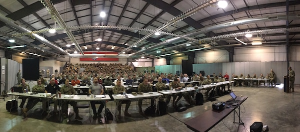 A nine-member team of Joint Task Force Civil Support (JTF-CS) subject-matter experts from Joint Base Langley-Eustis, Va., participated in an Exercise Guardian Response 2019 (GR-19) training conference at Camp Atterbury Ind., Nov. 30 to Dec. 2, 2018. The event featured more than 350 active and reserve members from the Army, Navy, and Air Force and DoD civilians, representing almost 100 different units of the DoD Chemical, Biological, Radiological and Nuclear (CBRN) Enterprise (CRE). Attendees included units of the Defense CBRN Response Force (DCRF) as well as the Army Reserve CRE Alpha and National Guard CRE Bravo (C2CRE-A/C2CRE-B). The involved units are preparing for GR-19, a brigade-level and below field training exercise, scheduled to take place at Camp Atterbury and Muscatatuck Urban Training Center (MUTC) Ind., April 22 to May 22. (Photo by U.S. Army Reserve Staff Sgt. Christopher Price)