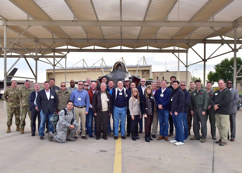 301st Fighter Wing personnel, honorary commanders, and local civic leaders from the Dallas/Fort Worth area visit the 944th Fighter Group at Luke Air Force Base, Ariz. for a civic leader tour Nov. 13 - 14, 2018. The tour allowed visiting civic leaders to see the infrastructure, to understand what goes into the F-35 Lightening II mission at a Reserve unit, and provided an opportunity to connect with Arizona civic leaders. (U.S. Air Force photo by Tech. Sgt. Louis Vega)