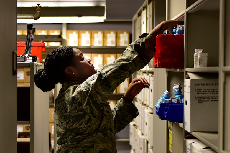 Airman 1st Class Rodtavia McCall, 377th Medical Support Squadron, medical logistics technician, stocks medical supplies at the 377th Medical Group in Albuquerque, N.M., Nov. 30, 2018. McCall is team member of the medical logistics flight that won Air Force Global Strike Command Medical Logistics Team of the Year. (U.S. Air Force photo by Airman 1st Class Austin J. Prisbrey)