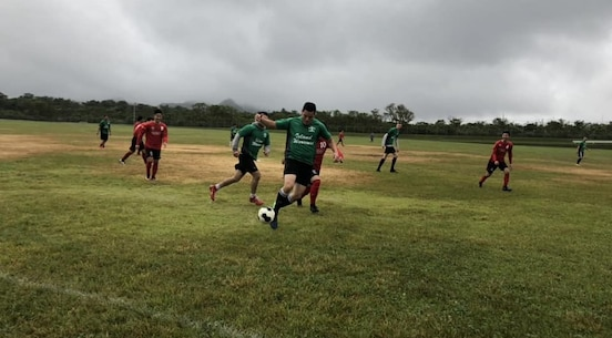 The Island Warrior soccer team plays professional Okinawan soccer team from Northern Okinawa