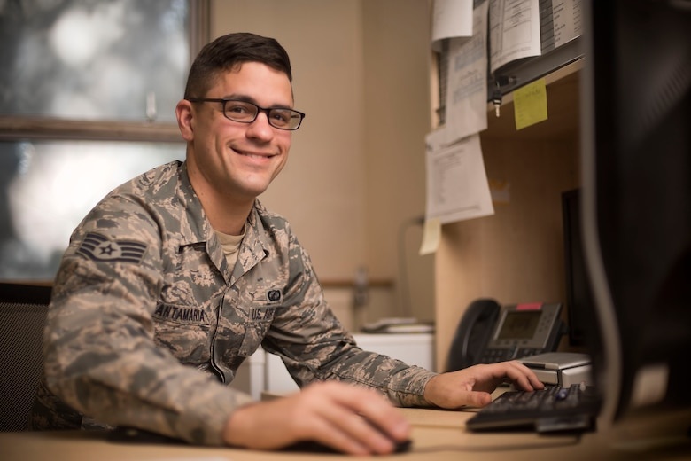 U.S. Air Force Staff Sgt. Robert Santamaria, 100th Comptroller Squadron NCO-in-charge of financial analysis, poses for a photograph, Sept. 26, 2018, at RAF Mildenhall, England. Santamaria and the budget analysis section ensure units across base get the money they need during the fiscal end of year closeout. (U.S. Air Force photo by Staff Sgt. Christine Groening)