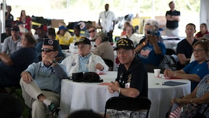 Military veterans attend the 10th annual Delaware Veterans Stand Down Sept. 21, 2018, at Schutte Park in Dover, Delaware. More than 1,000 Delaware military veterans attended this year's event. (U.S. Air Force photo by Staff Sgt. Zachary Cacicia)