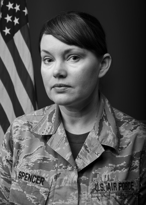 Master Sgt. Marie D. Spencer, an aerospace and services technician with the 910th Medical Squadron here, poses for a portrait at Youngstown Air Reserve Station, Ohio, August 8, 2018.