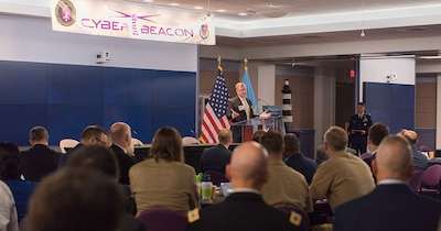 Admiral Dermanelian discusses cyber strategy. Photo courtesy of Katie Persons Lewis, NDU Audio Visual.