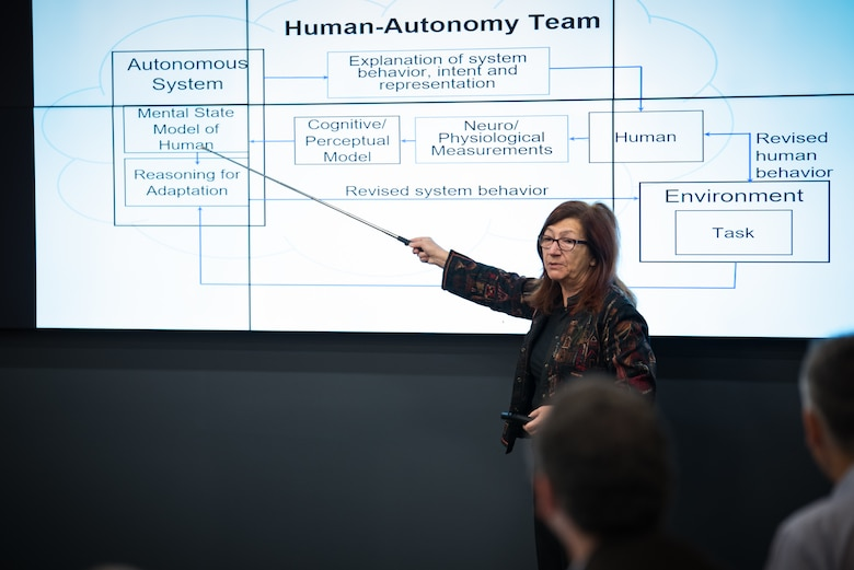 Dr. Katia Sycara, Carnegie Mellon University Advanced Agent-Robotics Technology Laboratory director and research professor, discusses CMU research in the Human-Autonomy Team with 711th Human Performance Wing researchers at the kick-off event here to celebrate a new University Center of Excellence at Carnegie Mellon in the research area of trusted human-machine teaming Sept. 28.