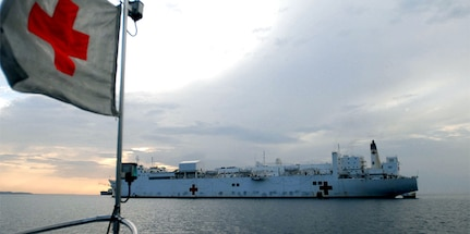 The hospital ship USNS Comfort at anchorage off the coast of Haiti in 2007.
