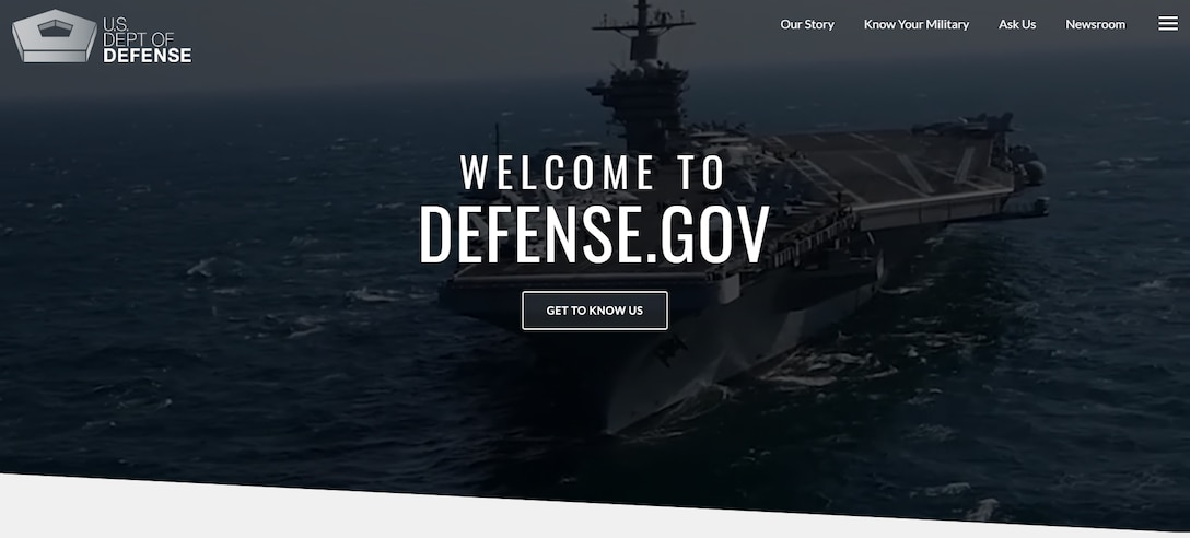"Screenshot with the words ""Welcome to Defense.gov""."