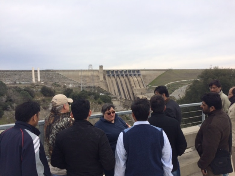 Joan Klipsch, Senior Hydraulic Engineer and Technical Lead for HEC-ResSim at USACE Hydrologic Engineering Center, lead a tour of Folsom Dam in Folsom, California for delegates of Pakistan water resource Ministries and Agencies