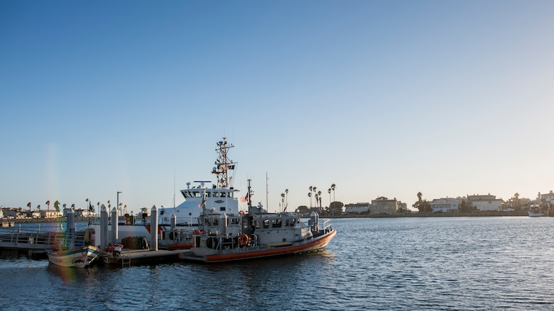 Cannon Air Force Base Airmen prepare to take off from the Channel Islands Harbor with U.S. Coast Guardsmen for a full mission profile exercise at Oxnard, Calif., Sept. 18, 2018. Airmen boarded a U.S. Coast Guard boat and tested search and rescue operations with cooperating aircraft. An FMP provides participants the opportunity to refine their tactics, techniques and procedures in operating in a maritime environment. (U.S. Air Force photo by Staff Sgt. Michael Washburn)