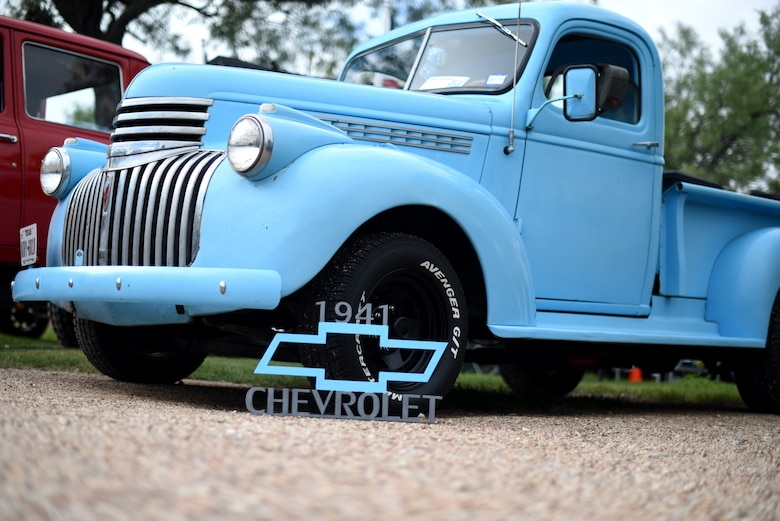 A 1941 Chevrolet waits to be judged during the 19th Annual Goodfellow Air Force Base Car and Motorcycle Show during the Ruckus at the Rec Camp on Goodfellow Air Force Base Recreation Camp, San Angelo, Texas, Sept. 29, 2018. Kicking off with a car show, the event also included chili and barbeque cook-offs and ended with a concert. (U.S. Air Force photo by Airman 1st Class Seraiah Hines/Released)