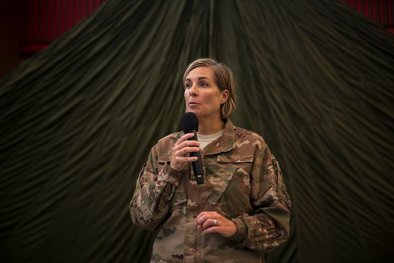 Col. Jennifer Short, 23d Wing commander, gives remarks during her final commander's call to the 563d Rescue Group, Sept. 27, 2018, at Davis-Monthan Air Force Base, Nev. Effective 1 Oct., the 563d RQG and its associated maintenance squadrons will be realigned from the 23d WG to the 355th Fighter Wing. (U.S. Air Force photo by Staff Sgt. Ryan Callaghan)