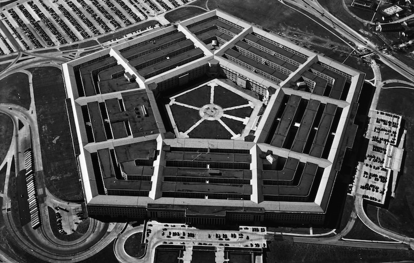 A photo of the Pentagon and surrounding roads and parking lots in 1947.